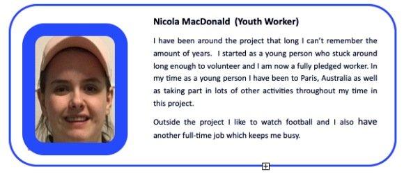 Nicola MacDonald Youth Worker